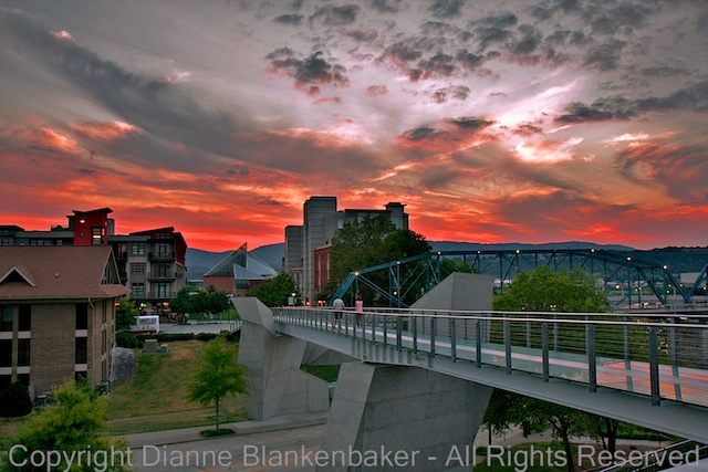 DSLR.  The foreground bridge takes us down to the background sunset