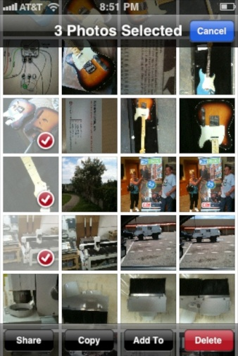 iOS6 - Selected Photos and Copy Button at bottom of screen