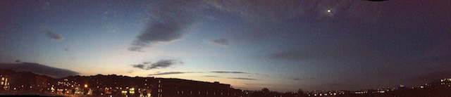 The last bit of sunset with the moon barely in the frame. iPhone 4S panoramic.