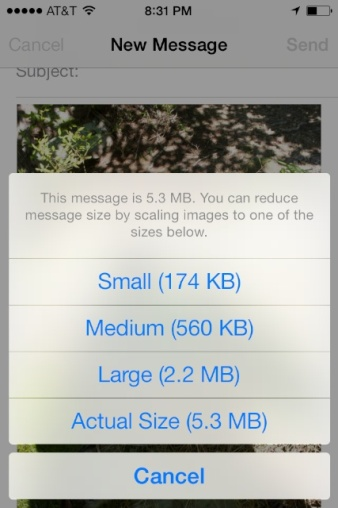 iOS7-Choose the size most appropriate for the purpose of your email/photos