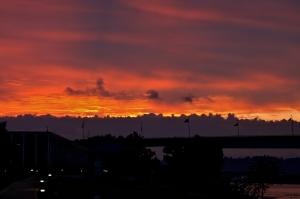 Sunrise behind Veteran's Bridge in downtown Chattanooga
