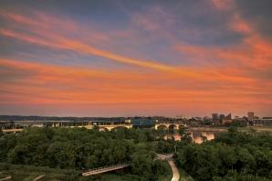 Riverfront at sunset