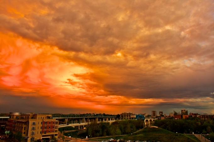 Sunset reflected in the Eastern sky over the Bridges of Chattanooga