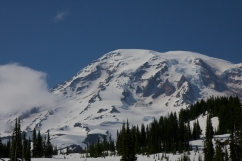 Peak of Mt Rainier in Washington